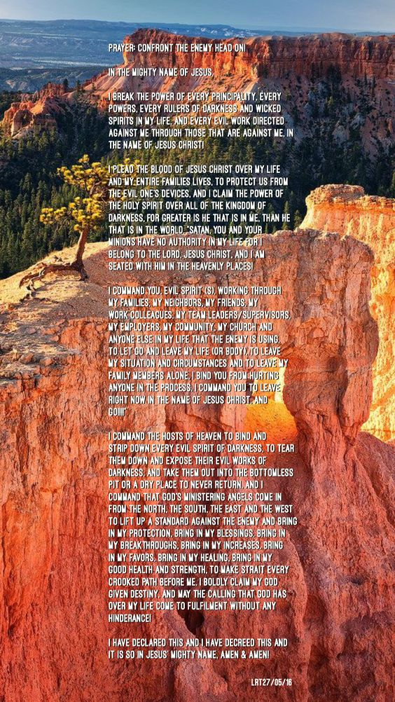 PRAYER: CONFRONT THE ENEMY HEAD ON!!!  In the mighty name of Jesus,   I break the power of everyprincipality, every powers, every rulers of darkness and wicked spirits in my life, and every evil work directed against methrough those that are against me, in the Name ofJesusChrist!   I plead the blood of Jesus Christ over my life and my entire families lives, to protect us from the evil one's devices, and I claim the power of the Holy Spirit over all of the kingdom of darkness, for greate...