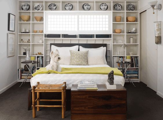 interesting white gray bedroom | bedrooms - charcoal gray headboard framed bookcase neon ...