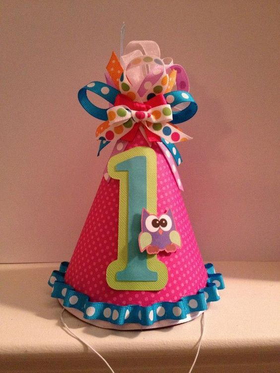 Owl 1st birthday party hat Facebook: PartywithStaci