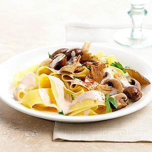 A creamy mushroom sauce tops egg noodles in this vegetarian twist on a classic Italian favorite recipe. Ready to serve in under 30 minutes.