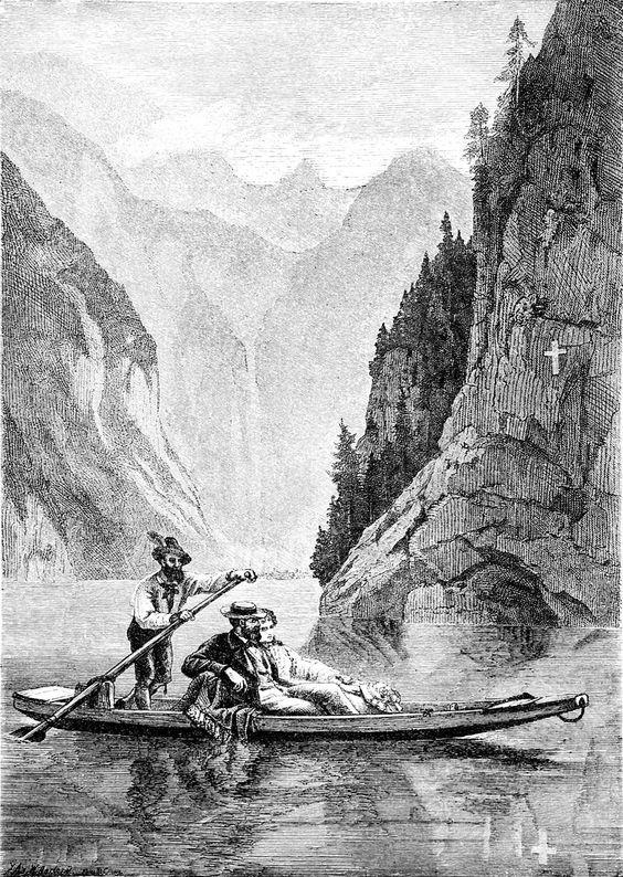 """""""Brautfahrt auf dem Königssee"""".  Die Gartenlaube, 1876"""