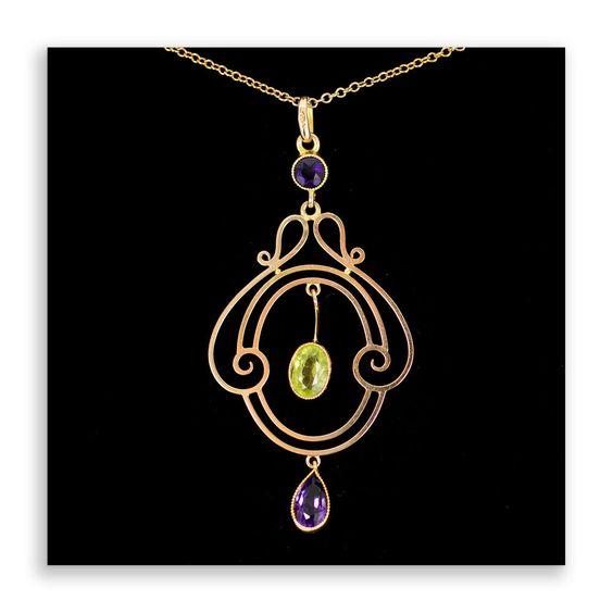 Art Nouveau Suffragette Amethyst And Peridot Pendant 9Ct Gold