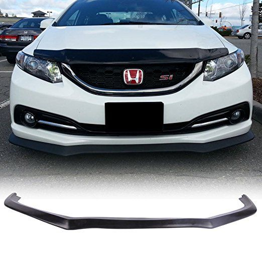 Front Bumper Lip Fits 2013 2015 Honda Civic Cs Style Black Pu Front Lip Finisher Under Chin Spoiler Add On By 2015 Honda Civic Honda Civic Honda Civic Sedan