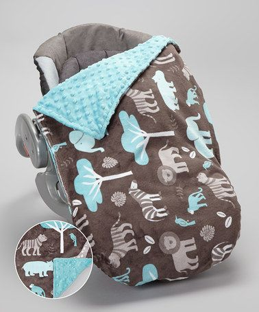 Take a look at this Topaz & Dark Charcoal Jungle Tale Car Seat Blanket Set by Lolly Gags on #zulily today!