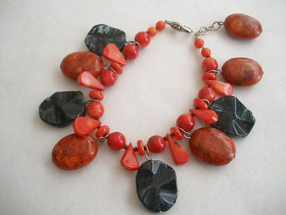 Red Coral & Black Onyx Bracelet by bluewhitewear on Etsy.