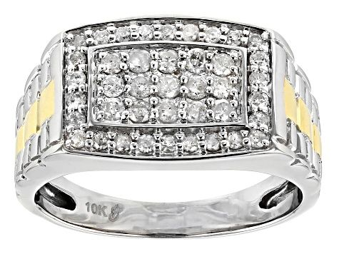 White Diamond 10k White And Yellow Gold Gents Ring 75ctw Cdg037 Gents Ring White Diamond Rings For Men