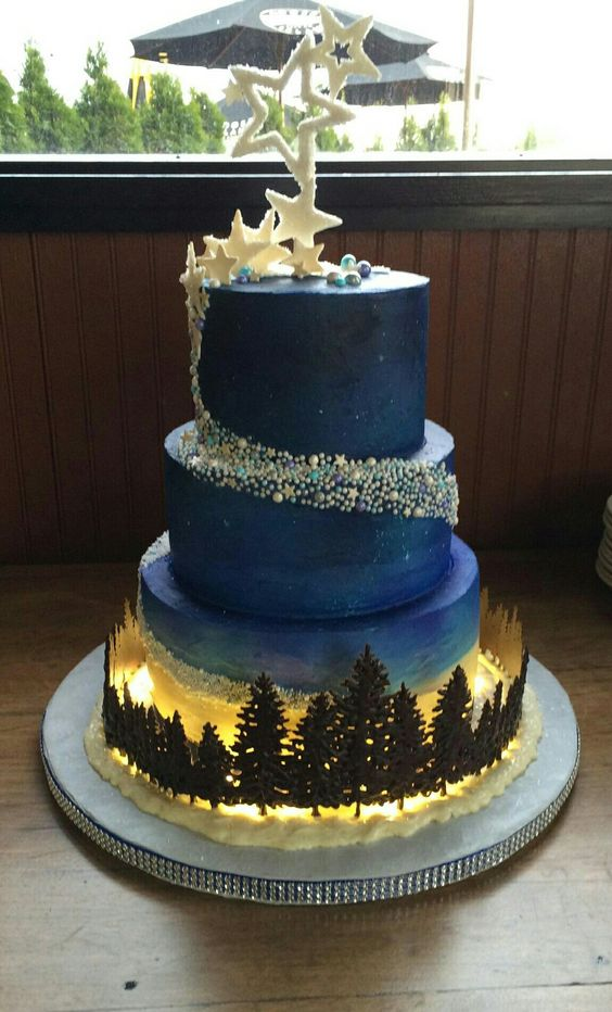 Starry Night I love you to the Moon and back wedding cake | XV ...