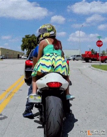 Mini dress no panties on a bike. PERFECT! - Public Flashing