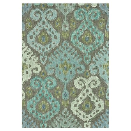Hand-hooked wool rug with an ikat motif.  Product: RugConstruction Material: 100% WoolColor: Grey and...: