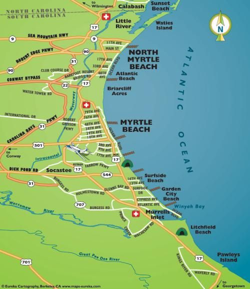 Road Map Of Myrtle Beach South Carolina Grand Strand Showing Area