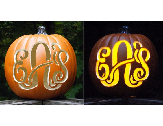 Monogrammed Pumpkins--the Pelican Girls want these and would make them from faux pumpkins so we could use them each year. Plus, they're perfect for fall and not just Halloween!: Carved Pumpkins, Pumpkin Initials, Cute Pumpkin Carving Ideas, Monogrammed Pumpkins, Pumpkin Carving Initials, Monogram Pumpkin, Monogrammed Carved Pumpkin