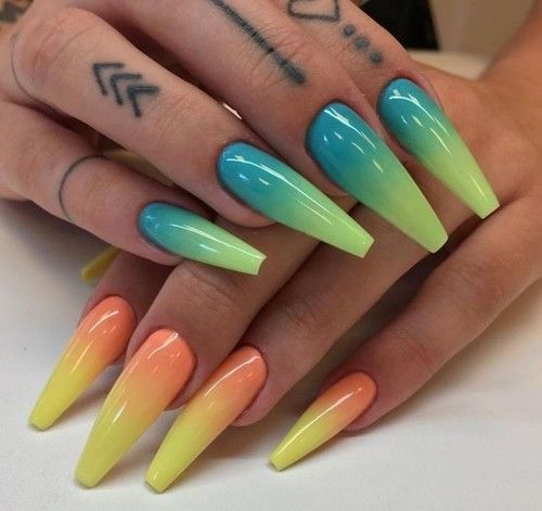 Nails Blue And Green Image Rainbow Nails Coffin Nails Designs Ombre Nail Art Designs