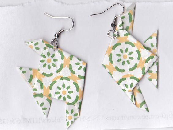 Adorable Origami Fish Earrings by FoldedFashions on Etsy, $5.00