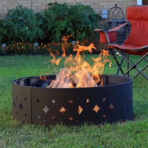 This Heavy Duty 36 Inch Black Steel Fire Pit Ring With Diamond Pattern Is Stylish And Functional Each Fire Pi Steel Fire Pit Steel Fire Pit Ring Fire Pit Ring