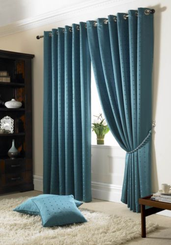 Teal Check Ring Top Lined Curtains 90