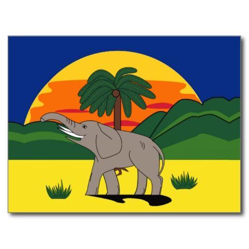 Gold Coast Elephant and Palm Tree Postcard