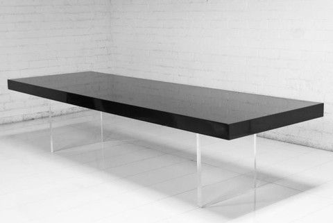 Lucite Plinth Leg Dining Table In Black Other Chairs