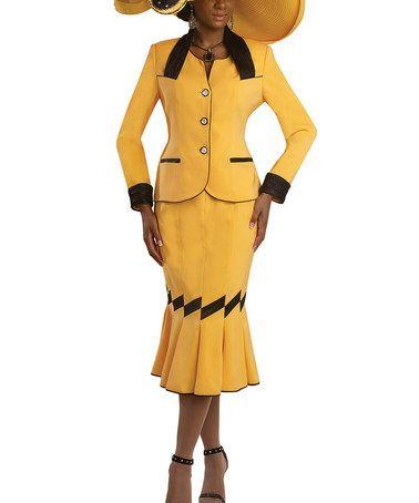 Another great find on #zulily! Yellow & Black Trumpet Skirt & Jacket - Women #zulilyfinds