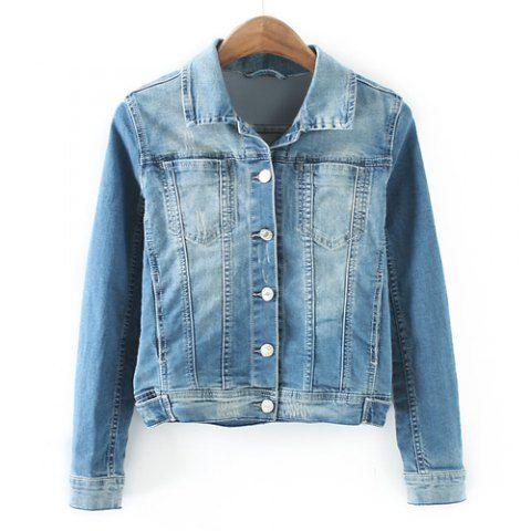 Stylish Turn-Down Collar Long Sleeve Single-Breasted Vintage Denim Women's Jacket
