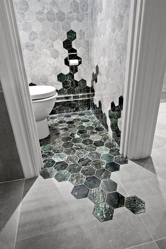 Bricmate U Hexagon Large Carrara Honed, 10x10 Bricmate U Hexagon Large Green Polished, 10x10 #grönmarmor #badrumsinspiration