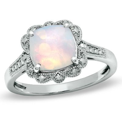 8.0mm Cushion-Cut Lab-Created Opal Vintage Ring in Sterling Silver - Size 7 - Zales