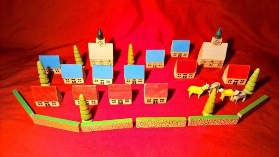 30 Mini Wood East German Houses, Chuch, Fence. Trees & Animals Erzgebirge Putz