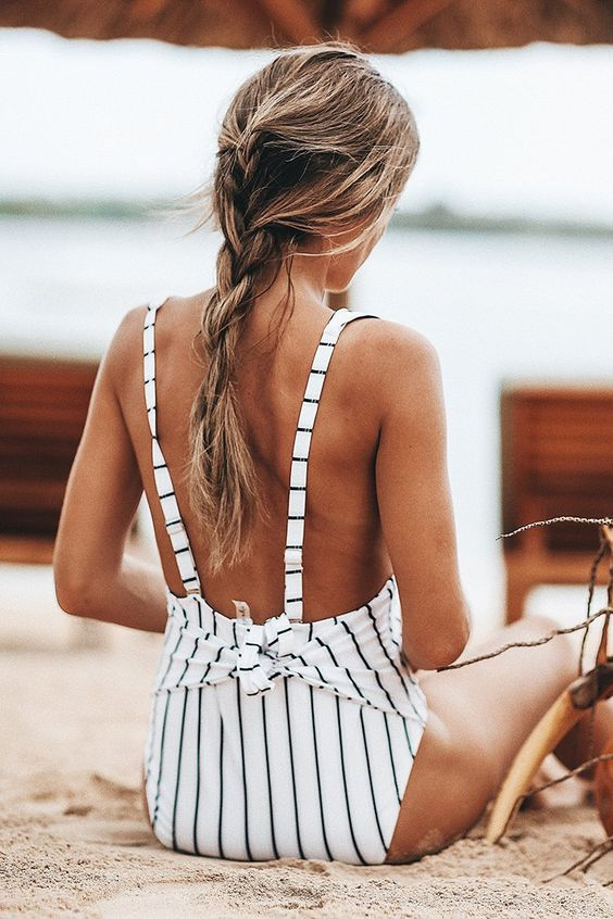 Quiet Elegance Stripe One-piece Swimsuit