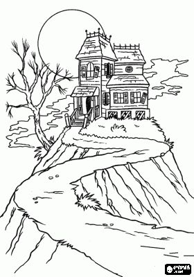 Halloween Coloring Haunted Houses And Halloween Coloring Pages On Pinterest