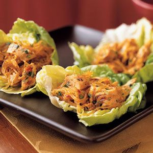 Spicy Asian Lettuce Wraps Recipe | MyRecipes.com . Easy and delicious! Pretty healthy too!