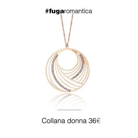 Collana in metallo con bagno in oro rosa e cristalli bianchi Luca Barra Gioielli! #collana #collezionedonna #lucabarragioielli #outfit #look #fashionblog #redheadandblondie