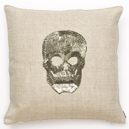 skull pillow: Pillows Fluff, Sequined Skull, Linen Pillows, Campaigns Pillows, Ankasa Pillows, Sequin Skull, Skull Linen, Pillows Hand