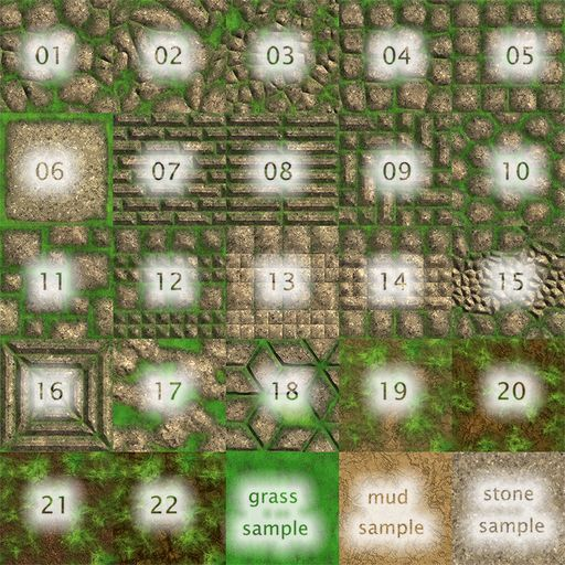 25 Grassy Stone Paths, Walkways and Terrains Textures from Basic Elements - Full Perms & Seamless