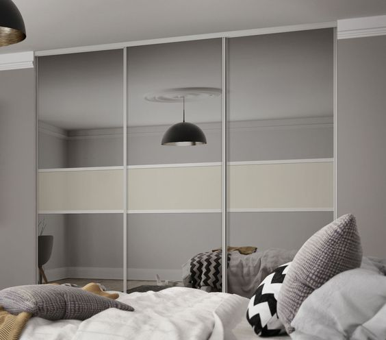 Classic 3 panel fineline sliding wardrobe doors in Grey Mirror and Soft White glass with Silver & Contemporary and striking: our Classic 3 panel sliding wardrobe ... pezcame.com
