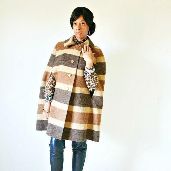 vintage 60s 70s tan CAFE LATTE wool STRIPED cape by PasseNouveauVintage, $86.00