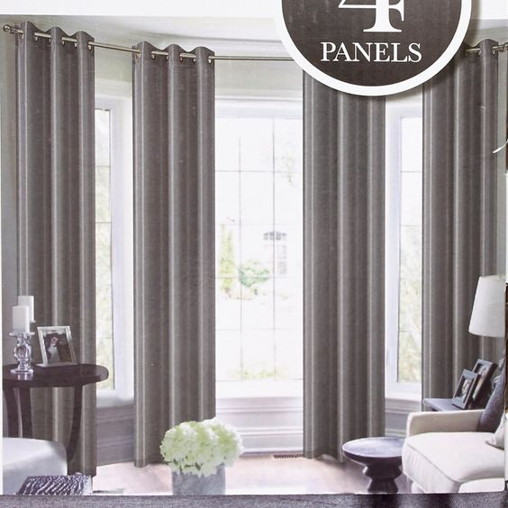 "Set of 4 Faux Silk Curtains- 38"" x 84"""