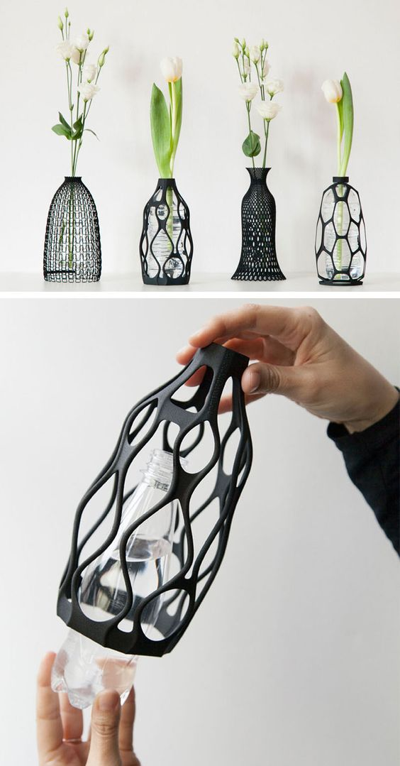 Designer Libero Rutilo of DesignLibero, has created a unique way to give life back to used plastic water bottles. His idea was to create a 3D printed sculptural vase exterior, that can be placed over the top of a water bottle, and can be screwed on like a cap.:
