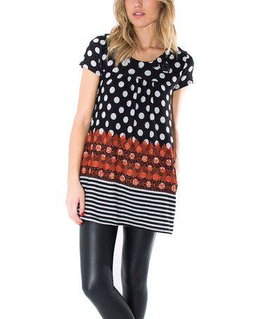 Another great find on #zulily! Black & Orange Polka Dot Stripe Shift Dress #zulilyfinds
