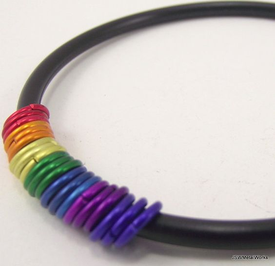 Rainbow and Rubber Bracelet Aluminum Bracelet by JSWMetalWorks