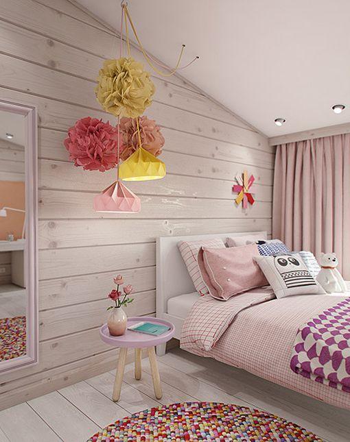Dormitorio juvenil en la buhardilla zona de la cama for Decoracion de cuartos para ninas grandes
