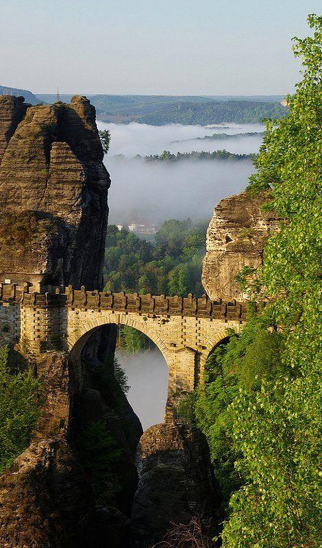Basteibrücke (Bastei Bridge), Saxony, Germany (by Oli aus F on Flickr) * Basteibrücke (Bastei Bridge), Sasko, Nemecko