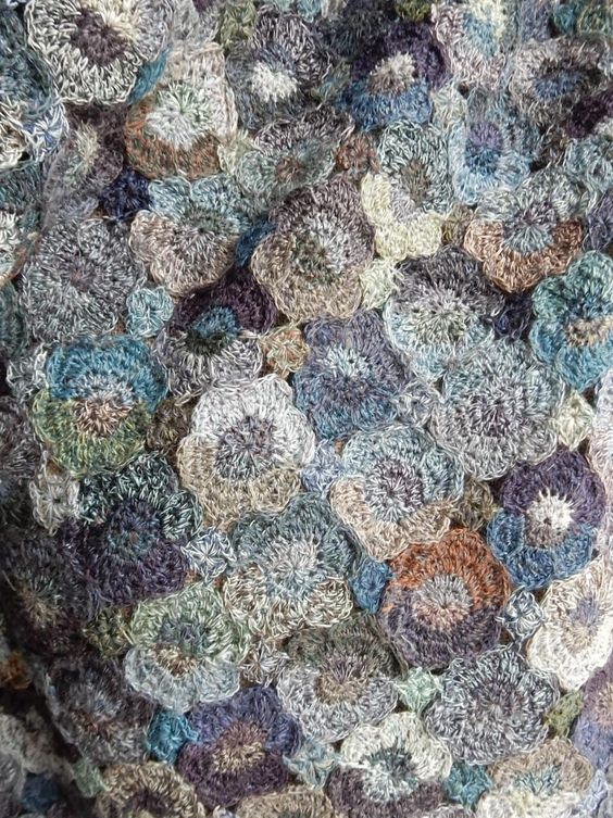 Sophie Digard - Hand crocheted scarf in moody blues, linen: