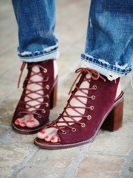 Bet this would be a fairly simple DIY--slit the shoe up front, remove a bit of fabric, punch holes, get some leather strips. |Free People Minimal Lace Up Heel, 148.00