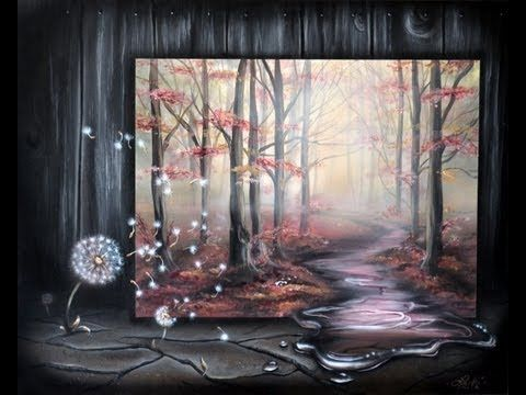 How to paint a surreal misty forest landscape with a for Painting a forest in acrylics