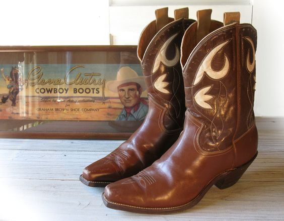 Men&39s 40&39s GENE AUTRY All Leather High Heel Pee Wee Cowboy Boots