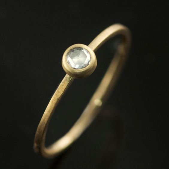 Ethical Rose Cut Diamond Ring in Recycled 14k Yellow Gold