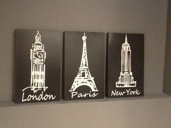 London Paris New York Black And White 3 Piece By
