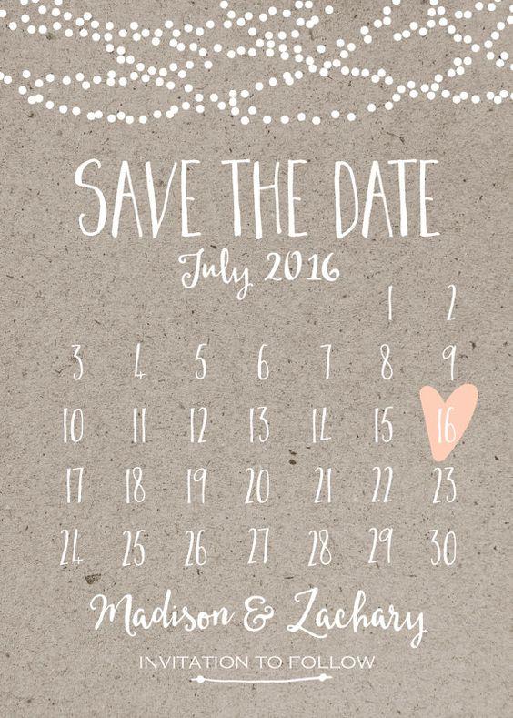 Save the Date Card Calendar Printable Simple by INVITEDbyAudriana