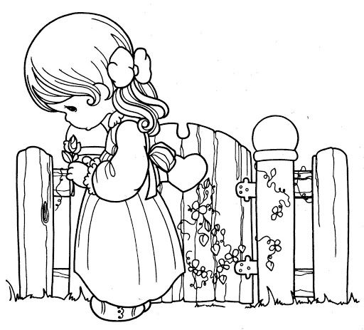 coloring book 4 kids: Girl in love, precious moments