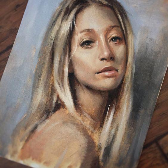 Original oil portrait sketch on canvas lined board. 12X16 Oil sketch on board.