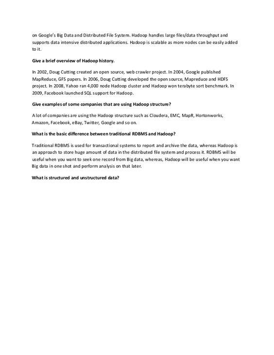 Interview Questions For Hadoop Freshers To be good Hadoop - hadoop developer resume